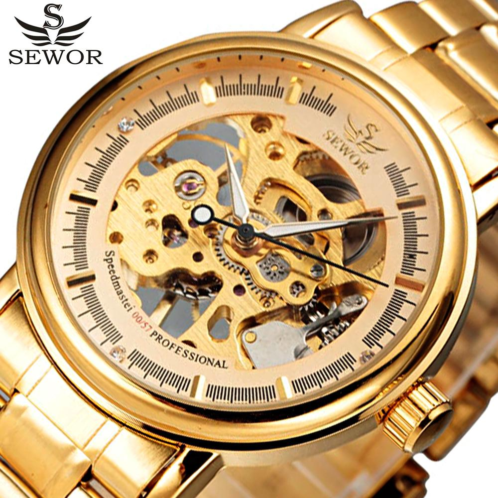 elogio relogios SEWOR Full Stainless Steel Gold Watch Men Designer Mens Watches Top Brand Luxury Skeleton Mechanical Watch Clock Male Rel...