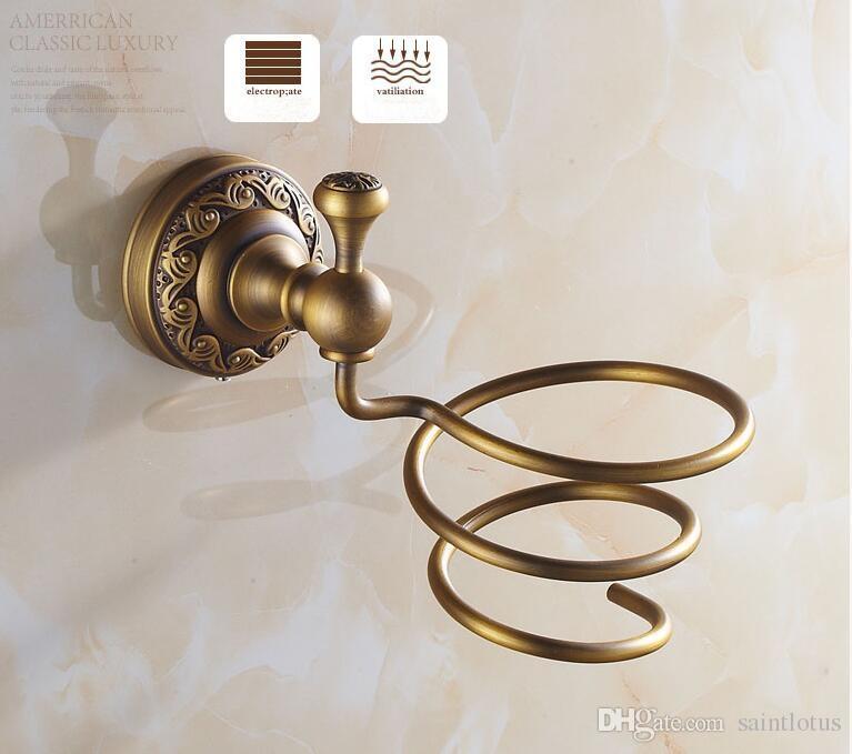 Bathroom Shelves Antique Brass Wall Mount Hair Dryer Rack Hair Dryer Bathroom Shelf Holder Bathroom Fittings Brush Holder