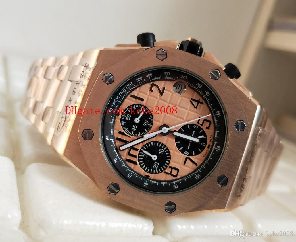 Luxury N8 Factory Watch Offshore 26470OR.OO.1000OR.01 42MM Luminiscente naranja Dial 18k Rose Gold VK Quartz Chronograph Trabajo Mens Relojes