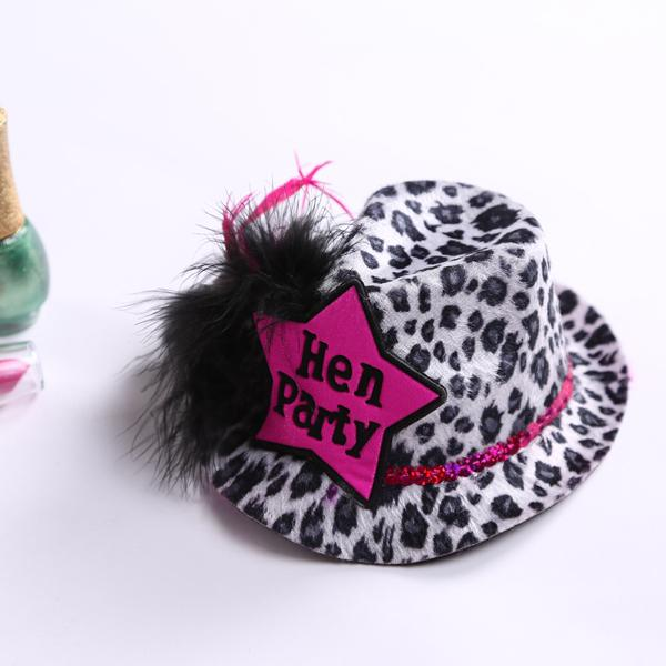 4393d912b70 Leopard Hen Party Mini Top Hat With Feather Sex Product Hair Clip For Girls  Wedding Favors And Gifts Graduation Party Invitations Graduation Party  Supplies ...