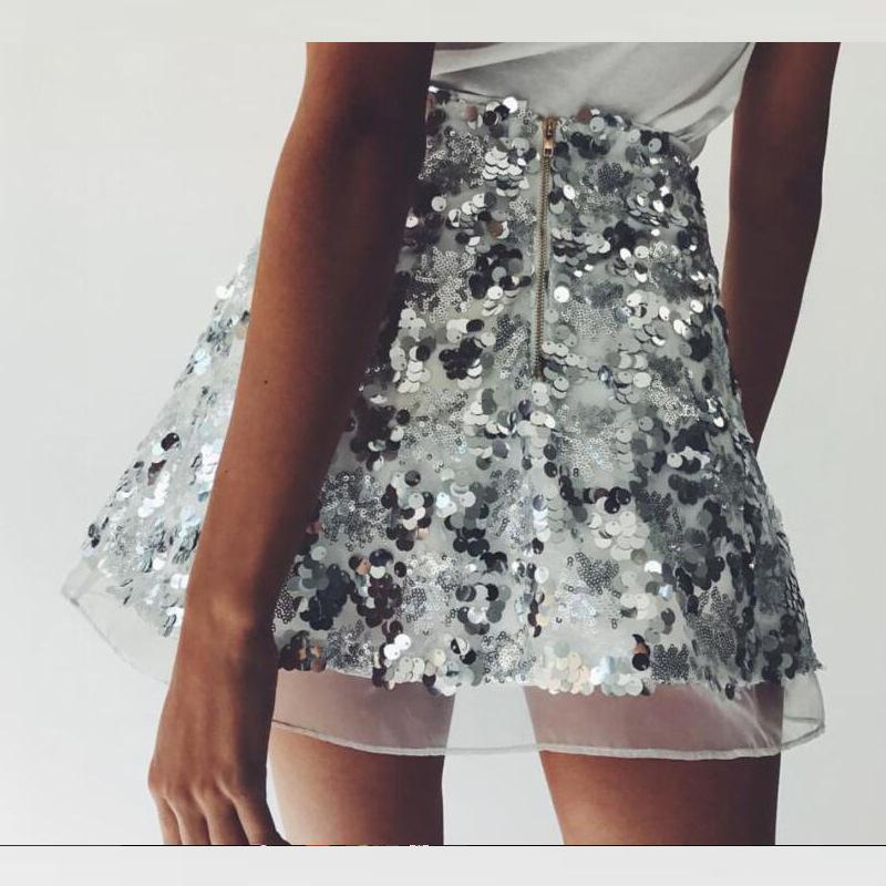 29e7a04d2 BEFORW 2018 Moda Marca Mujeres Lentejuelas Falda Dorado Astilla Color Mini  Faldas Vintage Cintura Alta Una línea Falda Corta Mujer S916