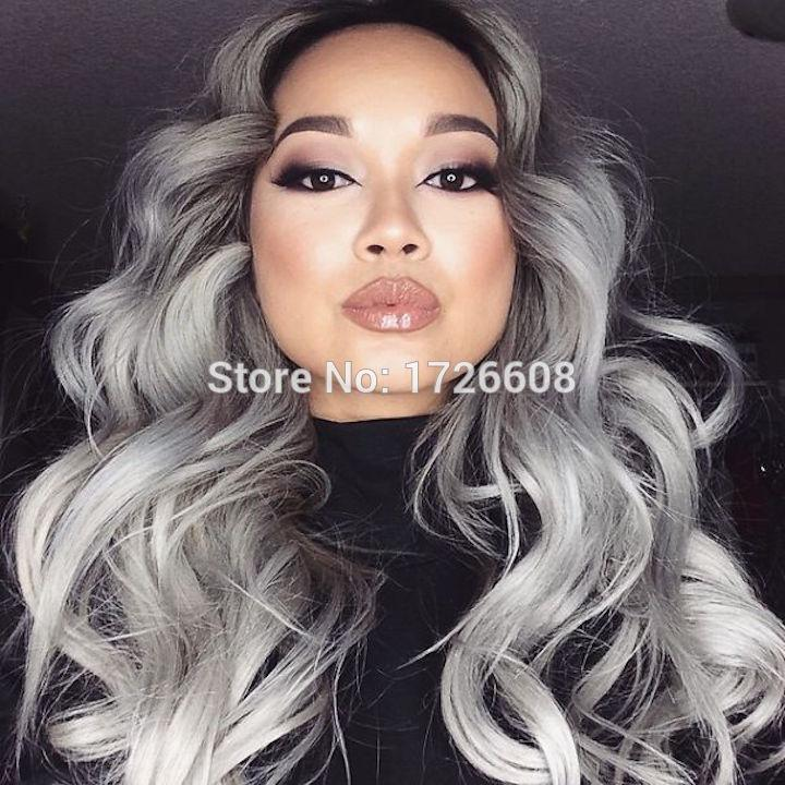 Royal 1set Gray Clip in Hair Weaving Curly Grey Gradient Hair Extensions Full Head Cosplay Synthetic Hairpiece Hair Accessories