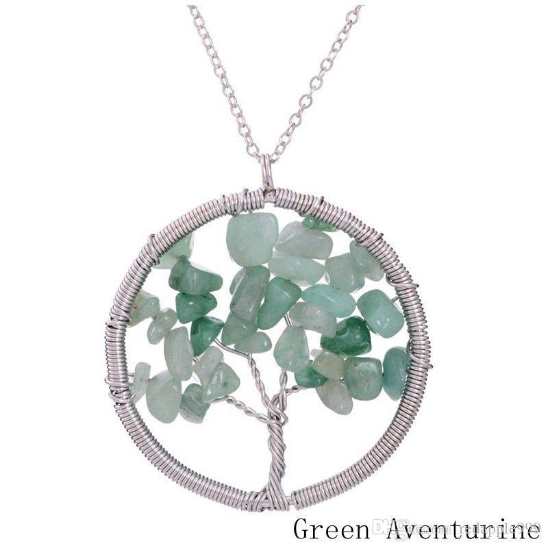 Tree of life necklace 7 chakra stone beads natural amethyst sterling-silver-jewelry chain choker necklace pendant for woman gift