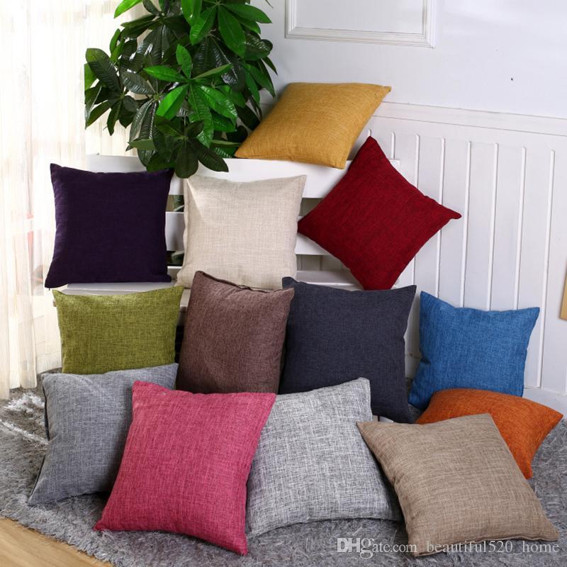 Plain Color Decorative Pillow Cover Cotton Linen Square Throw Amazing Plain Decorative Pillows