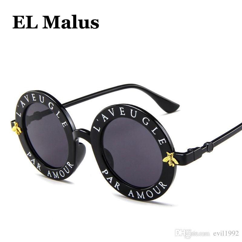 932d655e7479b Compre EL Malus 2018 Steampunk Retro Frame Redondo Óculos De Sol Senhoras  Sexy Abelhas Do Vintage Óculos De Sol Das Mulheres Designer De Marca De Moda  ...