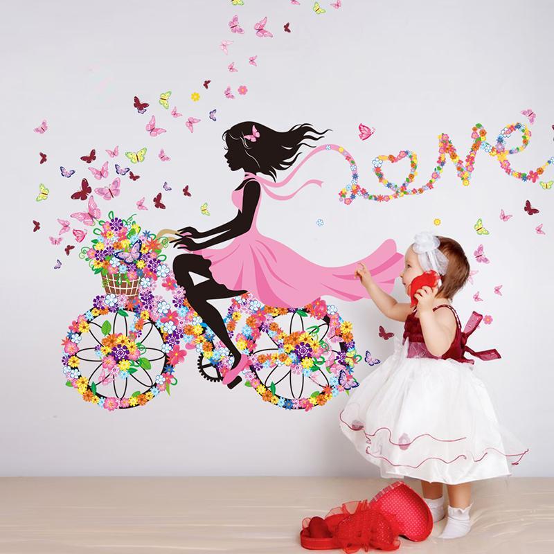 Acheter Stickers Muraux Fille Multicolore Vélo Wall Art Pour Chambre  Du0027enfant Bébé Chambre Décor Autocollant De $12.17 Du Kareem12 | DHgate.Com