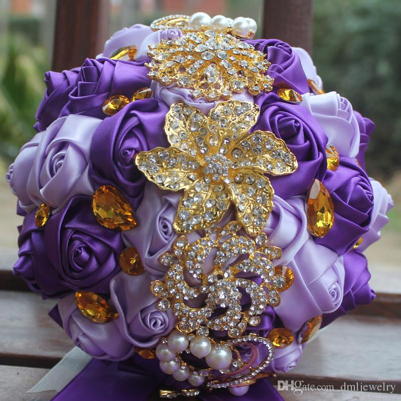 Purple And Gold Wedding.Artificial Wedding Bouquets Handmade Ribbon Purple White Red Roses Flowers Gold Crystal Rhinestone Bridal Wedding Bouquet Wedding Accesories