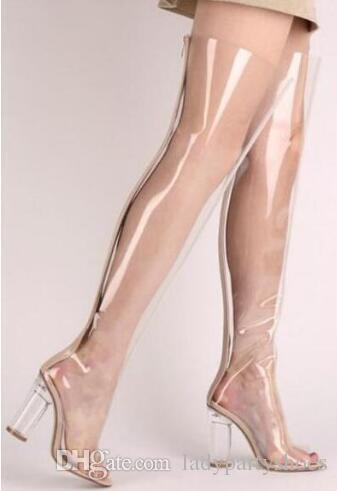 285b615fa2a 2018 Newest Clear PVC Women Over The Knee Boots Sexy Pointy Toe Transparent  Chunky Heel Ladies Boots Gladiator Thigh High Boots Thigh High Boots Booties  ...