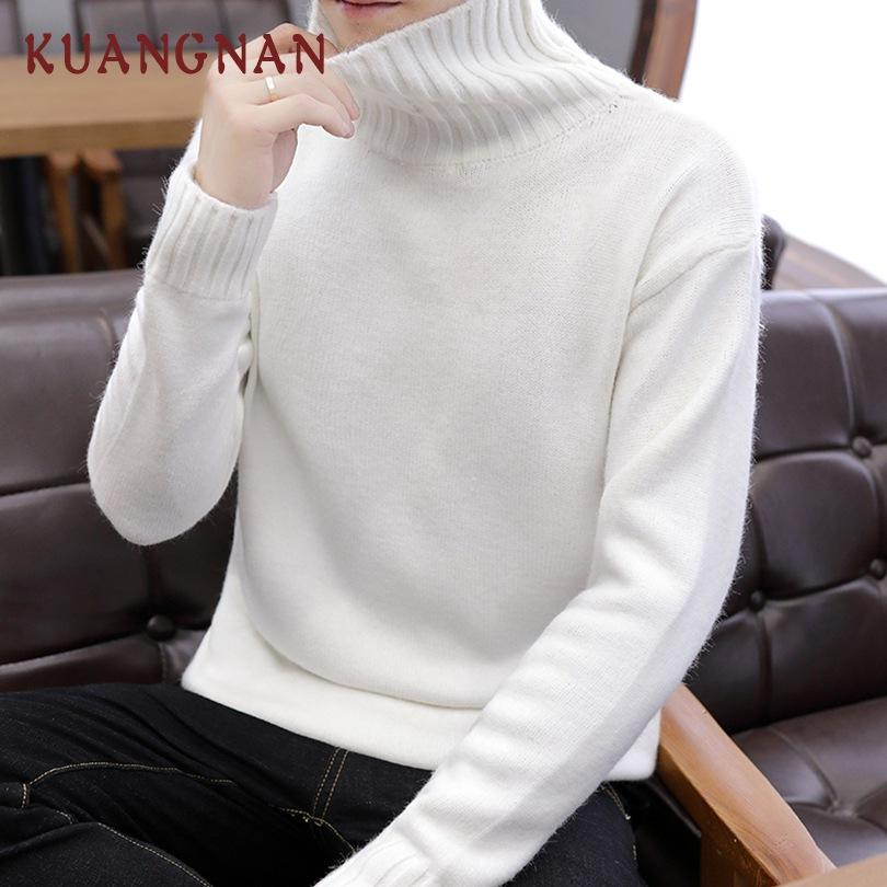 newest 461bb 2f343 KUANGNAN Solid Dolcevita Uomo Maglione Uomo Pullover Dolcevita Uomo  Maglione Bianco Natale Mens Cappotto 2018 Nuovo
