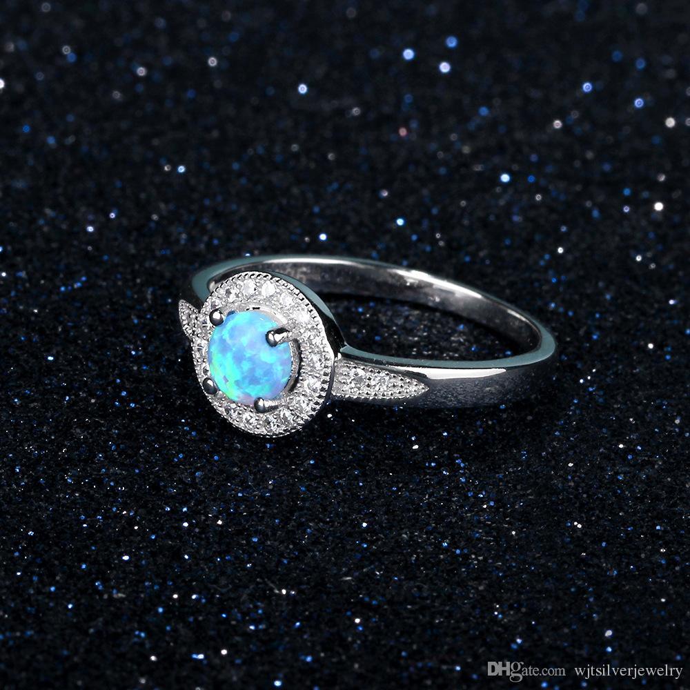 İyi Kalite Zarif Mavi Lab Opal Ring Katı 925 Gümüş Takı Kadınlar Hediye takı Çin malı