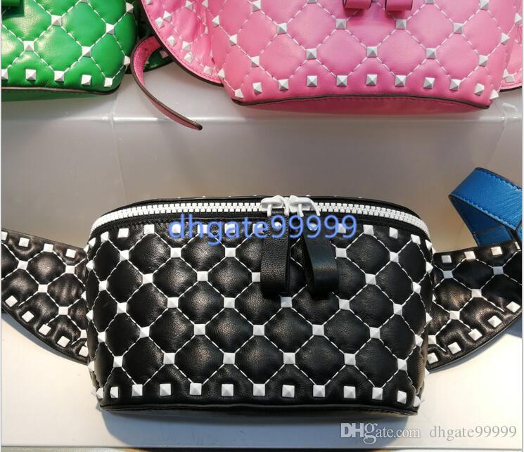 MEN Quilted bag women rivets belt bag shoulder 2018 new leather personality with white rivet sheepskin mini pocket cross body bag