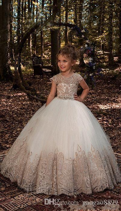 2018 Princess Ball Gown Lace Flower Girls Dresses For Weddings with Sash Baby Girl Birthday Party Gowns Cheap Kids First Communion Dresses