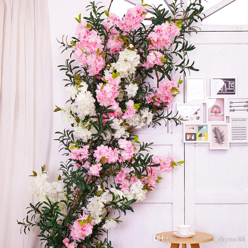 2019 Artificial Cherry Blossom Trees Flowers Fake Flower Silk Home Decor Stem Branches Wedding Party Decoration From