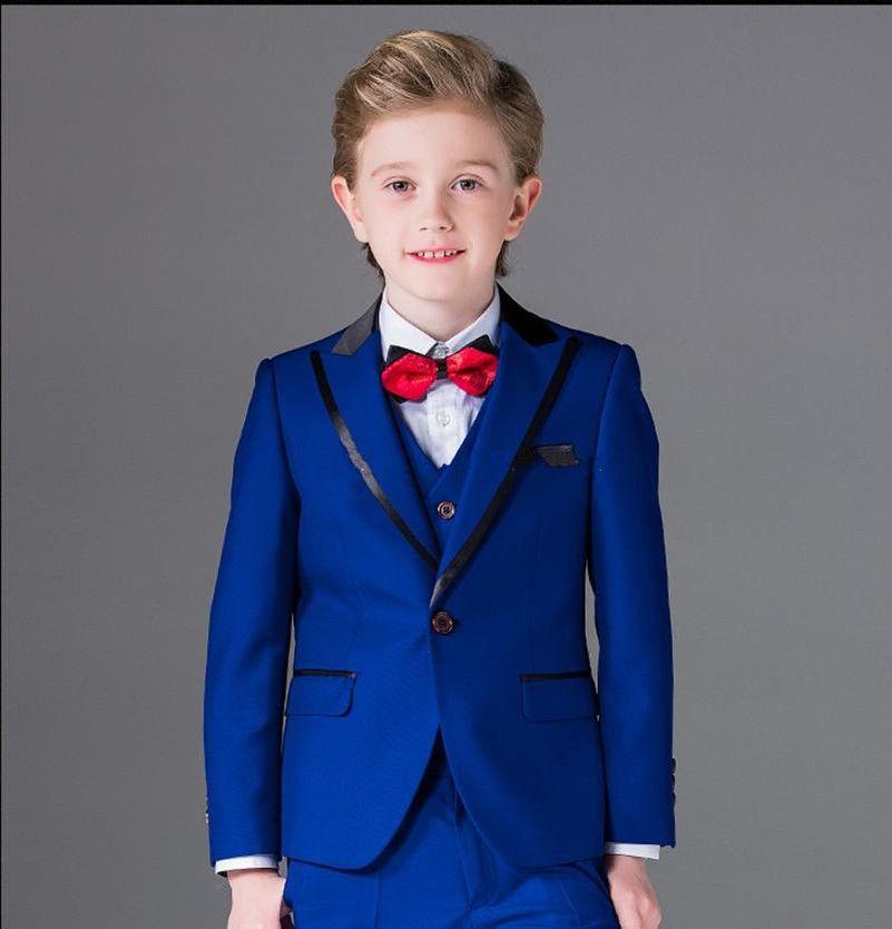 2018 Fashion Royal Blue Boy Tuxedos Peak Lapel Children Suit Cheap Custom Made Kid Wedding Prom Suits Jacket+Vest+Pants+Bow Tie
