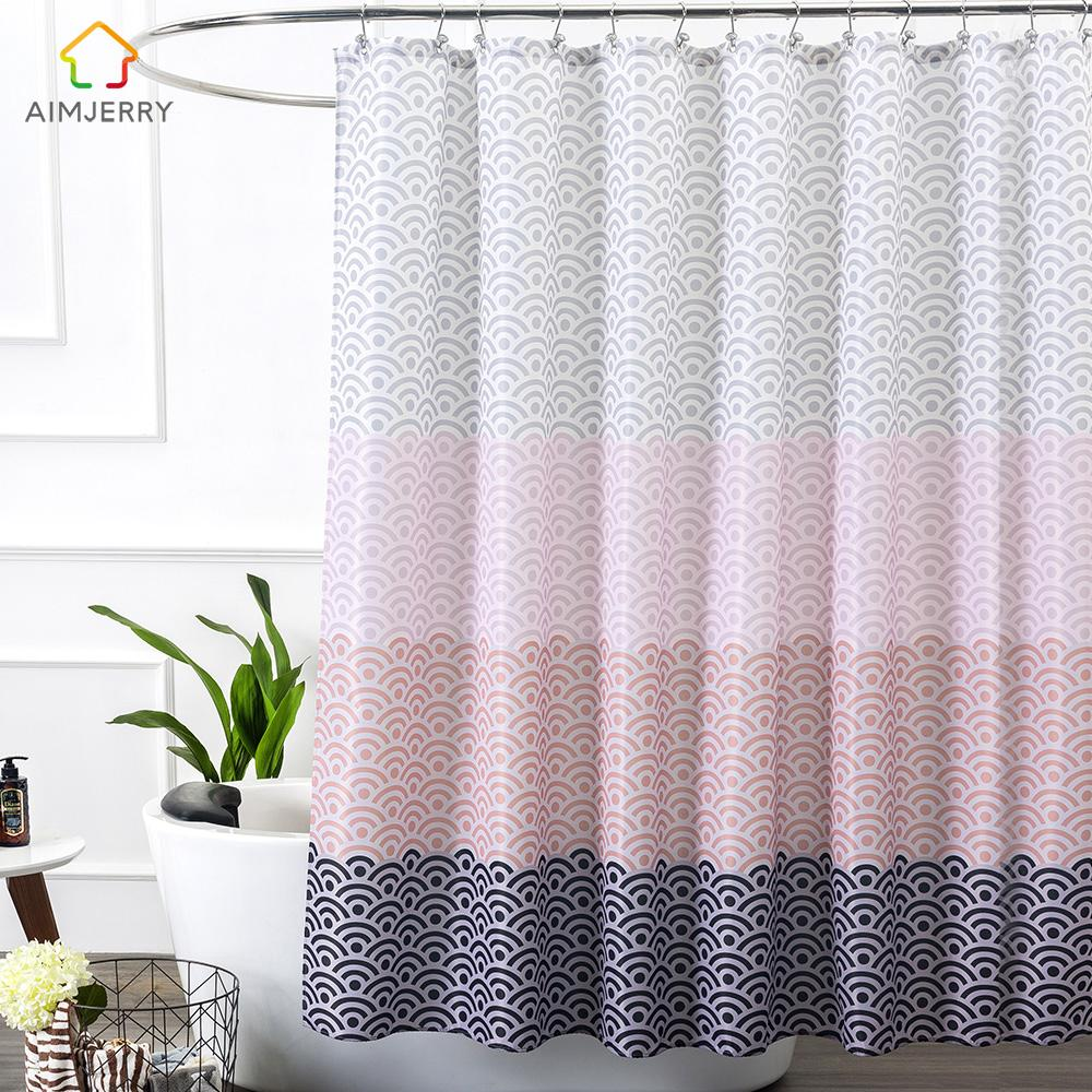2018 Aimjerry Longer Pink Bathtub Bathroom Shower Curtain Fabric Liner With 12 Hooks 72Wx80H Inch Waterproof And Mildewproof From Lazala 6629