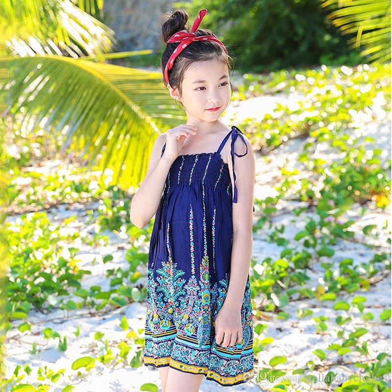 0844895b31f 2019 Wholesales Korean Floral Print Girls Dress Fashion Big Girls ...
