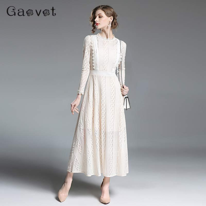 Kleid lang wei mit spitze