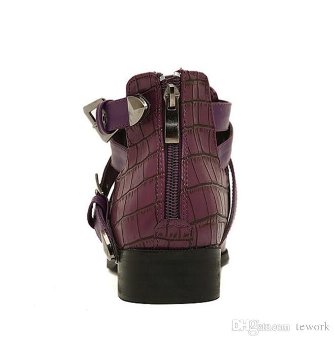 Botas de cuero de las nuevas mujeres de la llegada Botines de punta estrecha de moda de cocodrilo botas de mujer primavera otoño