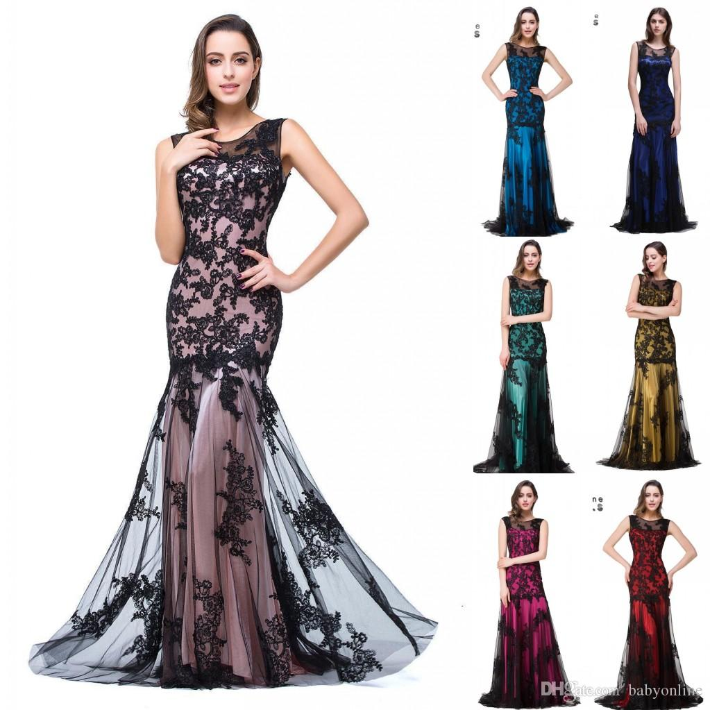 3a3f05b128c3 Real Image Sexy New Sheer Tulle Sleeveless Mermaid Evening Dresses Black  Lace Applique Formal Party Women Floor Length Prom Gowns CPS015 Short  Evening ...
