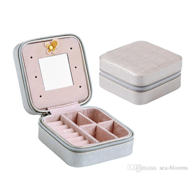 Creative Small Jewelry Box Portable Travel Jewelry Case Serpentine Leather Earrings Storage Box With Mirror Women Girls Gift Free Dhl H249f