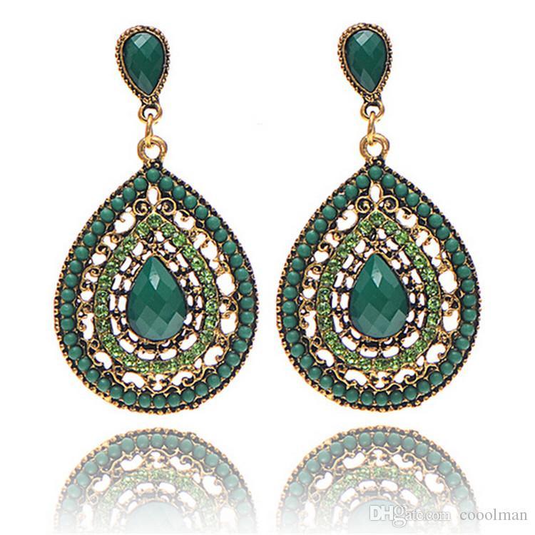 2018 New Ethnic Jewelry Alloy Earring Multi Color Full Rhinestone ... 3d5ca4814b57