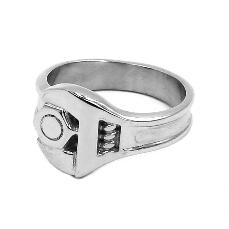 whole saleScrew Wrench Biker Ring Stainless Steel Jewelry Tools Spanner Motor Rings For Men Wholesale 755B