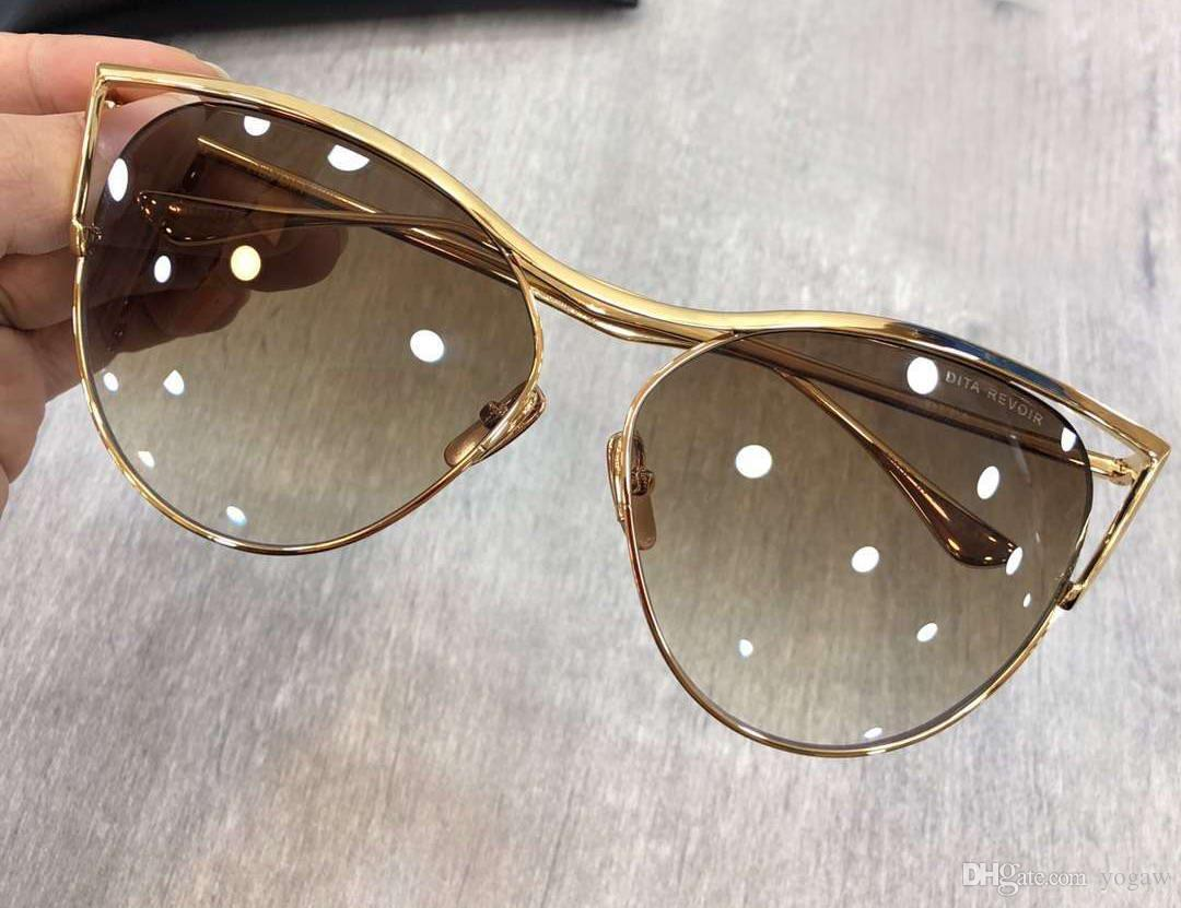 ac596fb5ea2 Fashion Cat Eye Gold Brown Sunglasses Designer Brand Sunglasses New with  Box Brand Sunglasses Revoir Sunglasses Talon Sunglasses Online with   73.06 Piece on ...