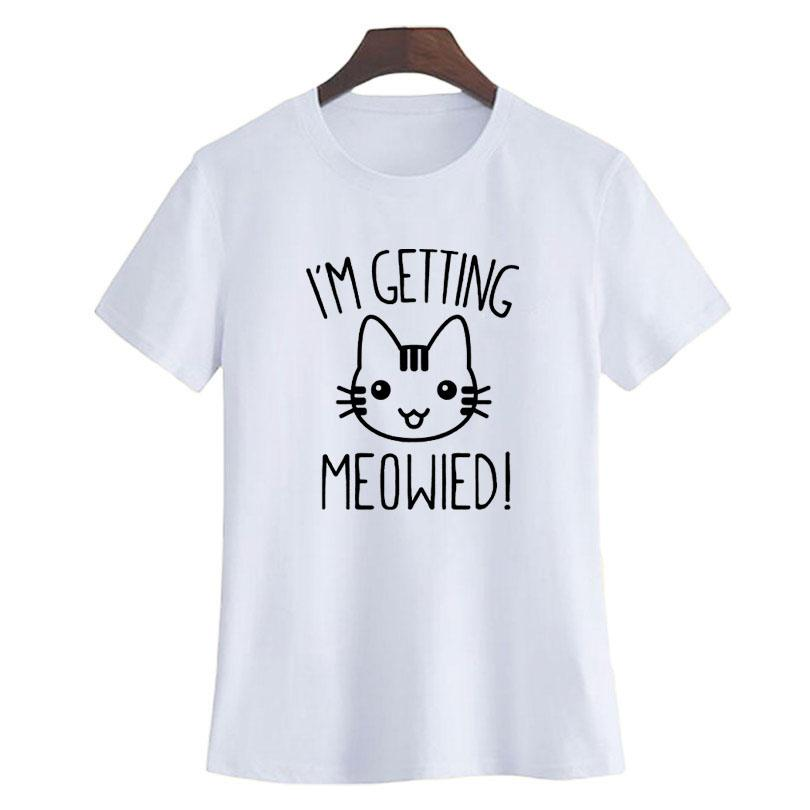 2588acc8 Women's Tee I'm Getting Meowied T Shirt Funny Graphic Printing Tee Shirt  Women Idea Present Birthday Engaged Cat Love Kitty Getting Married