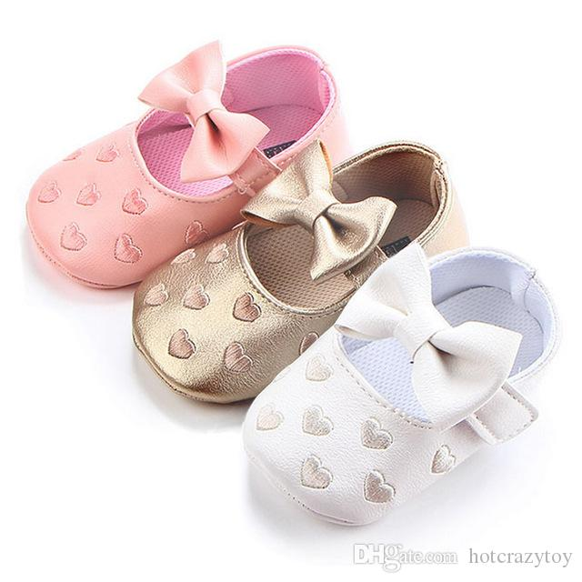 300ad8a55e7e9 2019 Big Bow Embroidery Love Pu Leather Baby Girl Shoes Non Slip Soft Soled  Footwear For Newborn Crib Shoes Toddler Girls Shoes From Hotcrazytoy