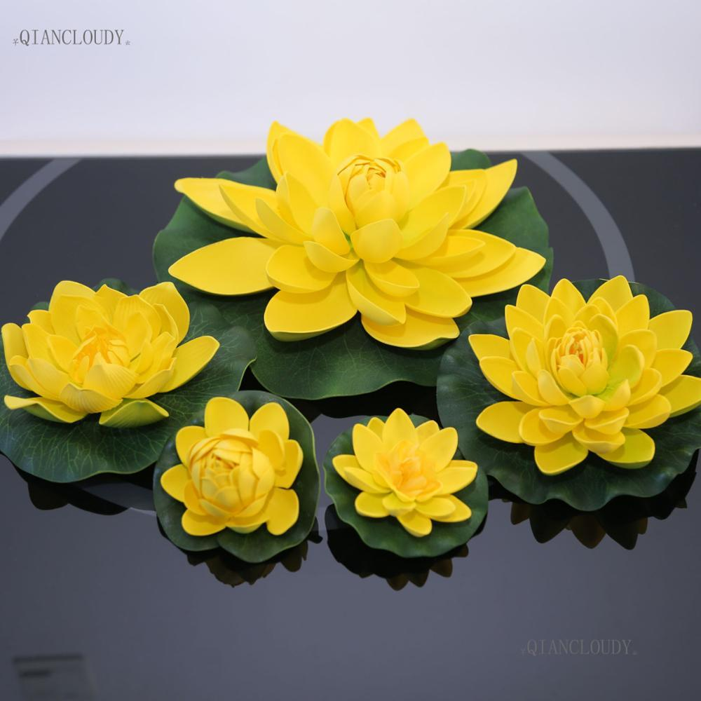 2018 Leaves Flowers Artificial Yellow Lotus Leaf Ponds Fake Flowers
