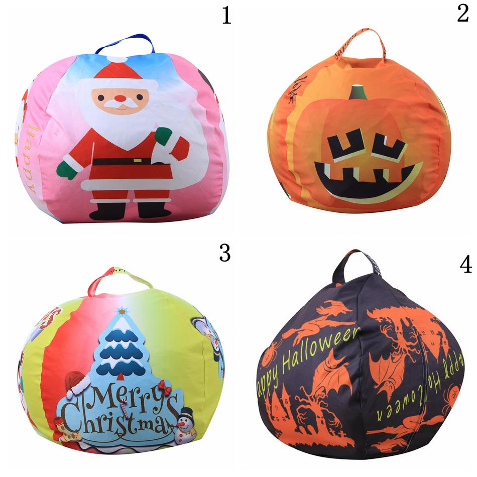 Christmas Storage Bean Bag 26inch 4 Styles Halloween Stuffed Animal Storage Chair Kids Clothes Toy Outdoor Bags 30pcs OOA5534