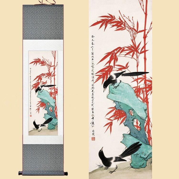 Grosshandel Chinesische Seide Aquarell Blume Vogel Rot Bambus Gluck