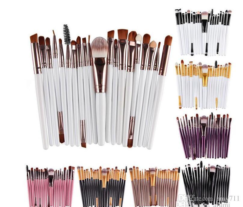 Profesional 20 unids maquillaje pinceles conjunto cosmético cara sombra de ojos cepillos herramientas kit de maquillaje cepillo de labio cepillo