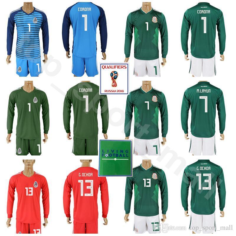 Compre Copa Do Mundo De 2018 De Manga Longa De Futebol 13 Guillermo Ochoa  México Jersey Conjunto 1 CORONA 7 Miguel Layun 22 Hirving Lozano Kits De  Camisa De ... a35b10390dbf9