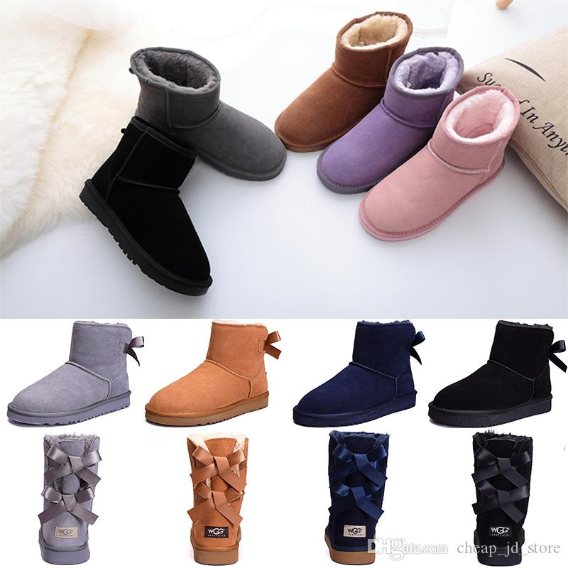 ff6f6ffb3d0 Women Boots Bailey Bow WGG Australia Classic Designer Winter Snow boots  Ankle Mini Short Tall Knee Ribbons Bowtie womens boot Wholesale