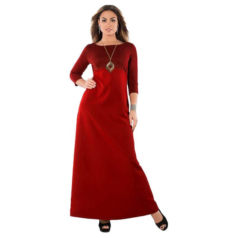 edd31168b27e1 Elegant Women Plus Size Maxi Dress Metallic O-Neck Three Quarter Sleeve  Solid Slim Long Dress Black 4XL 5XL 6XL Big Size Dress