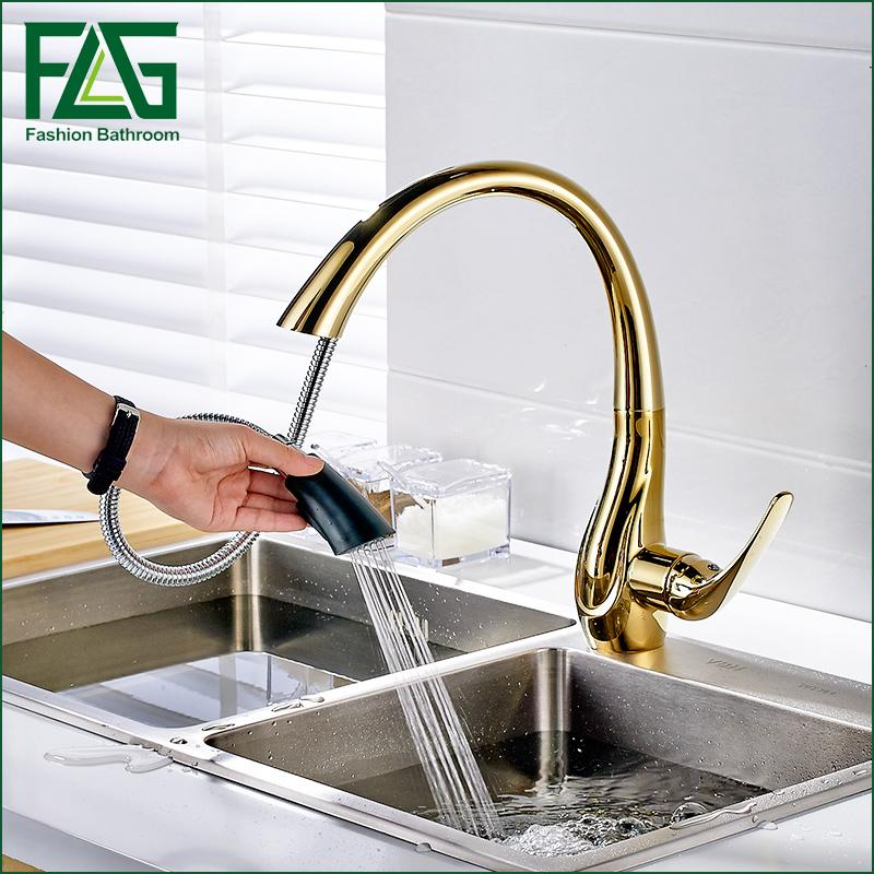Merveilleux Online Cheap Pull Out Gold Kitchen Faucets, Hot And Cold Vegetables Basin  Rotating Taps All Copper Kitchen Sink Mixer Faucet By Shuishu | Dhgate.Com