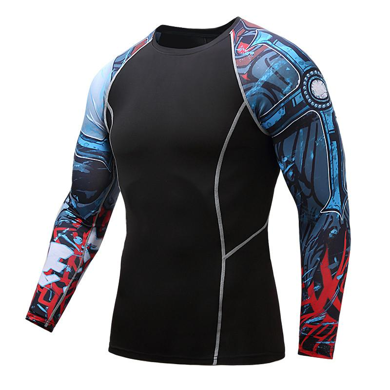 Join Dr. Muscular man 3 d printing professional fitness compression shirt long sleeve T-shirt to join MMA fitness clothing