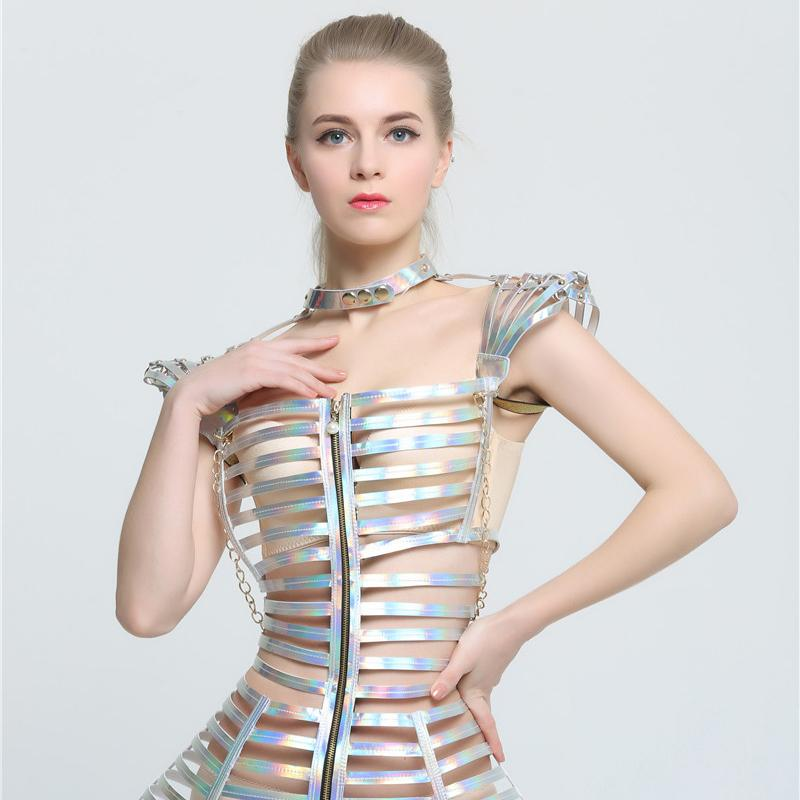 Fashion Female Singer Costume Stage Show Silver Costume Sexy Slim Clothing Bar Ds Dj Jazz Dance Outfit Performance Wear