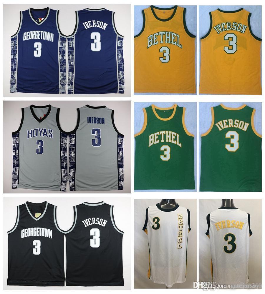 b649fea5147 2019 Georgetown Hoyas Allen Iverson College Basketball Jersey University #3  Allen Iverson Shirts Cheap Retro Stitched Jerseys S XXL From Gatejerseys,  ...