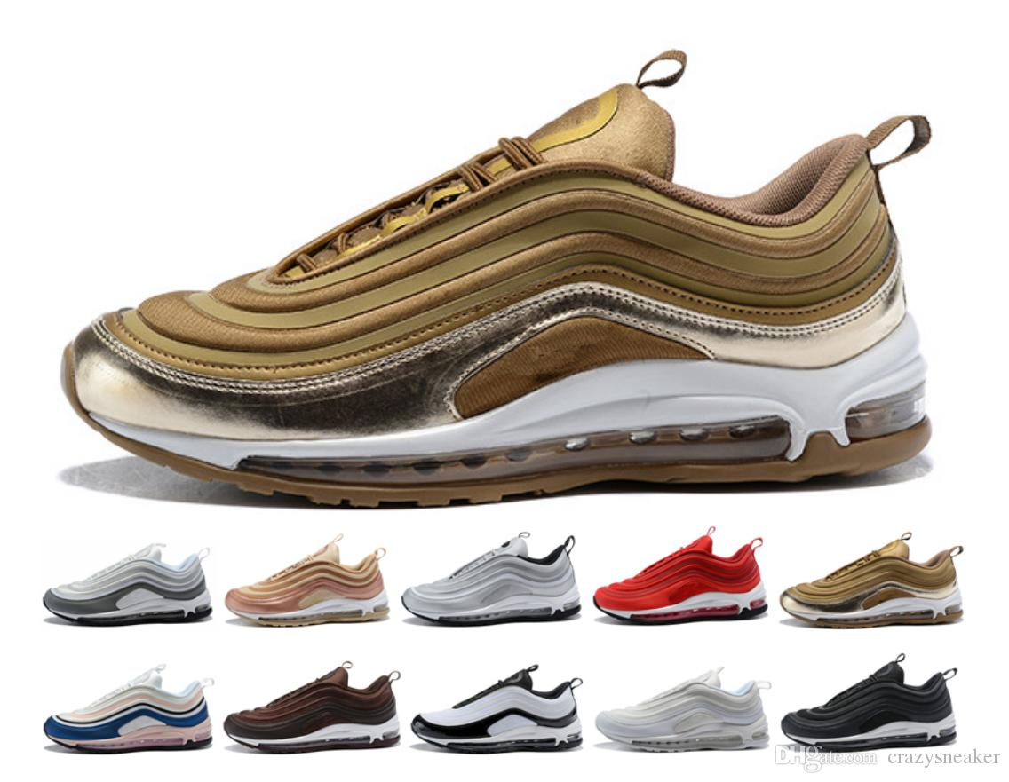 Top Quality 2018 nike air max vapormax 97 off white airmax 97 plus New 97 OG X Gold Silver Bullet Zapatos deportivos Negro Blanco r Mens 97s ultra