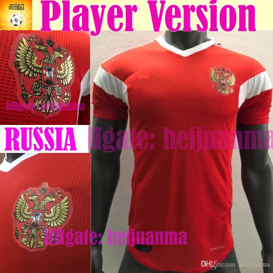 Compre 2018 Versão Do Jogador Rússia Camisas De Futebol 2018 Copa Do Mundo  Russo Casa Uniforme De Futebol Vermelho Qualidade Thai Kokorin Dzagoev  Camisas De ... 946fc6e6b516f