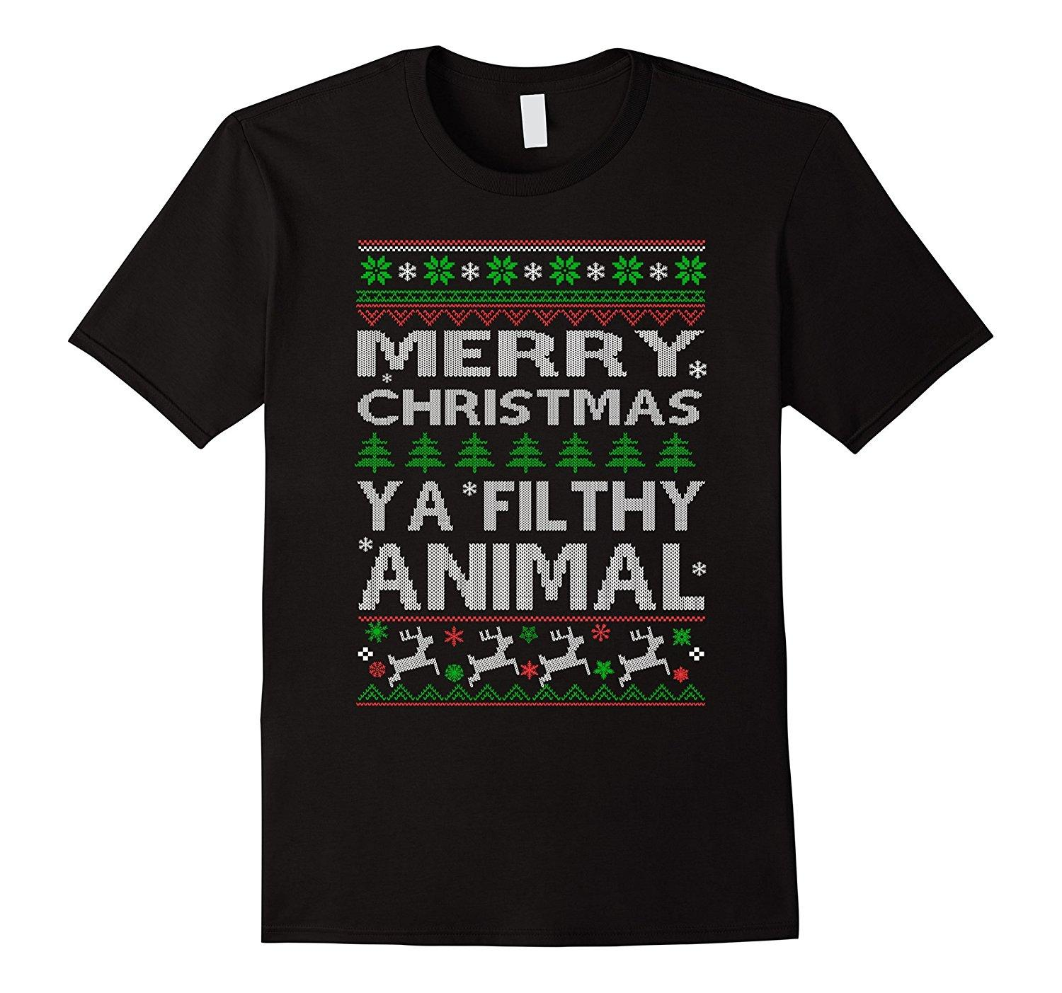 27e79403 Merry Christmas Ya Filthy Animal Funny T Shirt High Quality Men T Shirts  Top Tee Men T Shirt Lowest Price 100 % Cotton Awesome T Shirts Online A T  Shirts ...