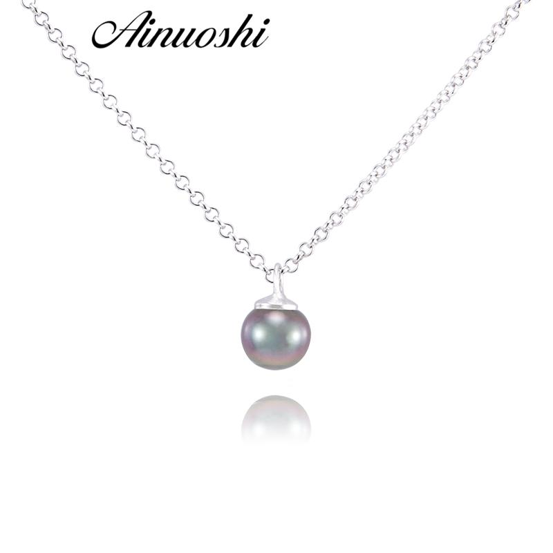 736f452e6e2 AINUOSHI 925 Sterling Silver Necklace Pendants Southsea Nautral Tahiti  Black Pearl 8-9mm Round Pearl Engagement Pendants Jewelry