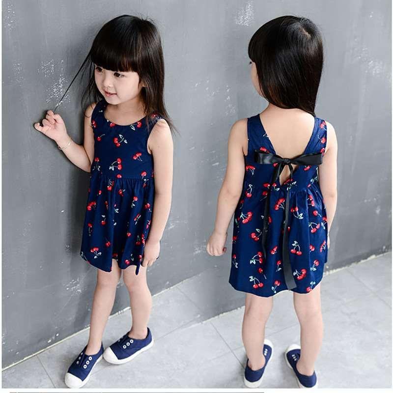 Korean version of the girl's dress summer 2018 children's clothing new cotton children's vest skirt cherry floral girl skirt