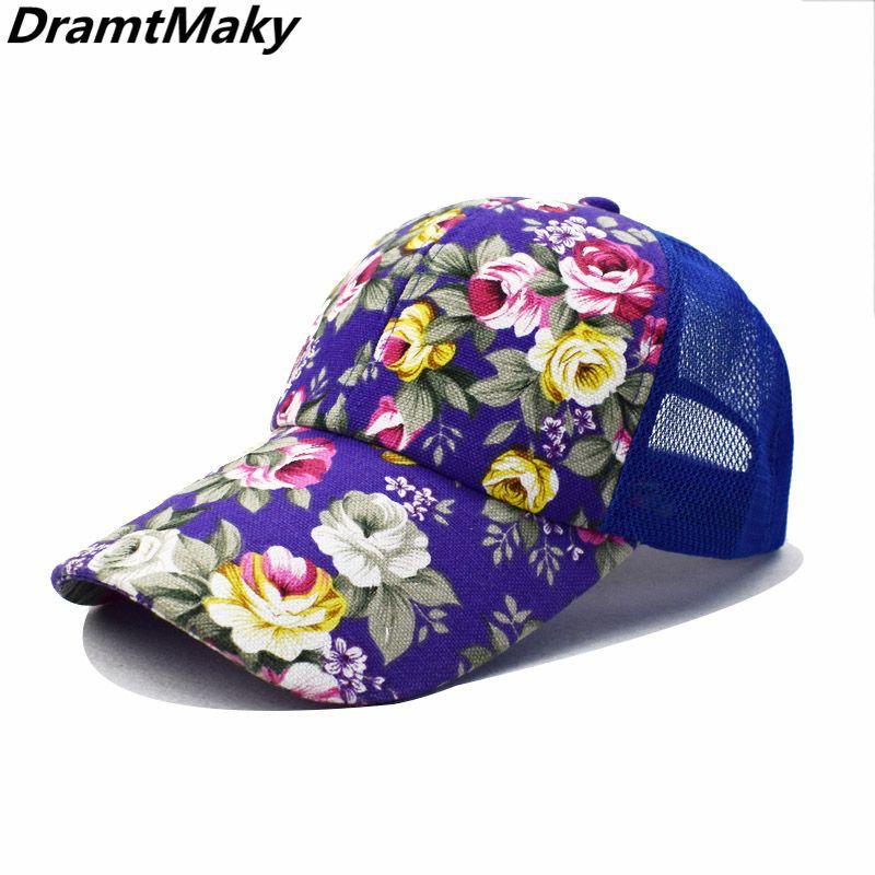 946b5a153ecf Nuevo patrón de flores de verano de malla gorras de béisbol hombres mujeres  al aire libre Snapback hueso transpirable sombreros de moda al por mayor ...