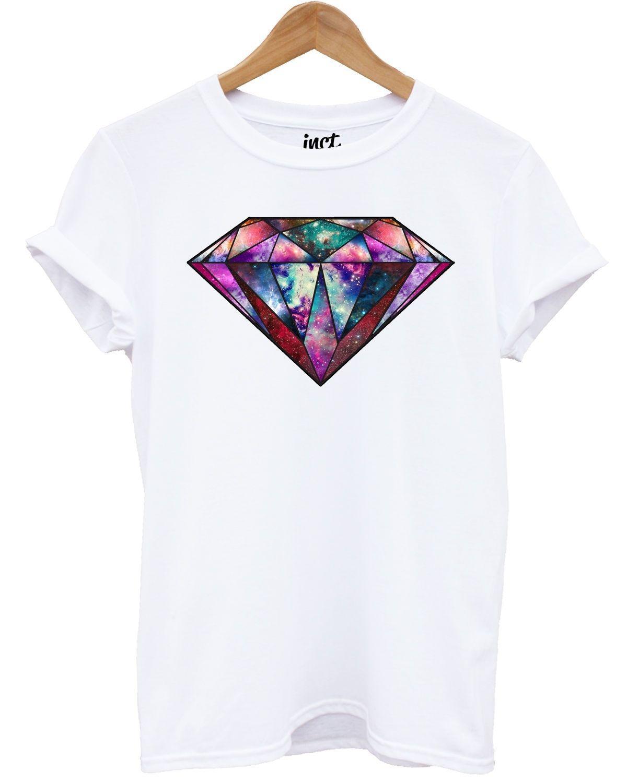 3c146289bd422 Compre Galáxia Diamante Camiseta Moda Hipster Espaço Tumblr Projeto  Impresso Top Presente Mens 2018 Marca De Moda T Shirt O Pescoço De  Teesworkshop