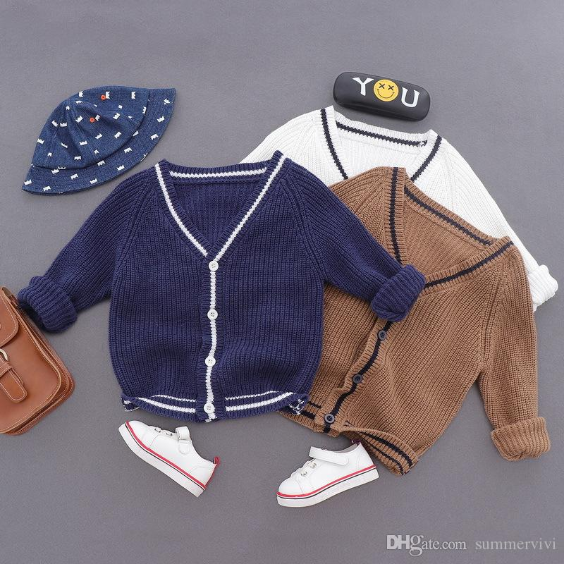 02d8cb950b72 Boys Kintted Cardigan Children Stripe V-neck Single Breasted Outwear ...