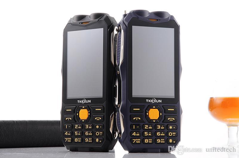 "Unlocked TKEXUN Analog TV power bank cellphone 3.5"" handwriting touch screen GSM dual SIM card flashlight Torch FM bluetooth mobile phone"