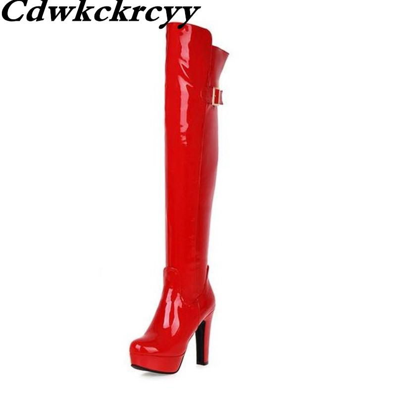 63ea2614fa8e Black Patent Leather Boots Winter Europe And America Nightclub Steel Tube  Dance Sexy Gules Super Heel Over The Knee Women Boots Ladies Boots Cheap  Boots ...